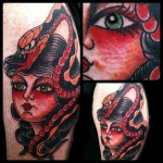 Traditional, girl, girl head, Tattoo, Traditional Girl Head Tattoo, tattoo ideas, Iron Tiger, Columbia MO, Gabe Garcia