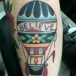 hot air balloon tattoo, hot air balloon, Traditional, Tattoo, Iron Tiger, Columbia MO