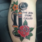 Traditional phone tattoo, Seinfeld tattoo, phone, old phone tattoo, Iron tiger, Columbia MO, Gabe Garcia