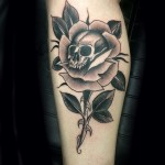 black rose of death, tattoo, traditional, Iron tiger, Columbia MO, Gabe Garcia