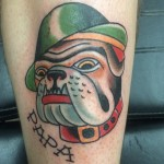 Devil dog, traditional, tattoo, marine corps, bulldog, Iron Tiger, Gabe Garcia Columbia MO