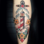 Traditional lighthouse tattoo,Traditional, lighthouse, tattoo, Iron tiger, Columbia MO, Gabe Garcia
