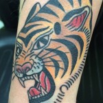 Traditional Tiger Tattoo, tiger head tattoo, Iron Tiger, Columbia MO, Gabe Garcia