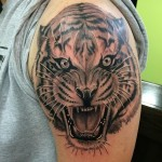 Tiger portrait tattoo, black and gray tiger tattoo, Iron Tiger, Columbia MO, Gabe Garcia