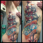 tattoo on ribs, side, tattoo, ship,