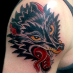 wolf head tattoo, wolf tattoo, traditional, traditional wolf tattoo, Iron Tiger, Columbia MO, Gabe Garcia