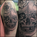 Traditional Skull and Flowers tattoo, Iron Tiger, Columbia MO, Gabe Garcia