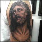 jesus, portrait, tattoo, black and gray, Gabe Garcia, Iron Tiger Columbia Mo