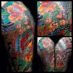 japanese, tattoo, kirin, half sleeve
