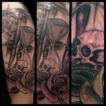 Hourglass, skull, rose, tattoo